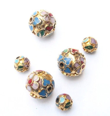 Cloisonne Gold Round Beads Vintage Chinese Variety of sizes