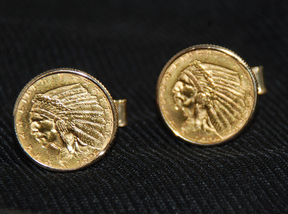 14KT Gold $5 Indian Head Half Eagle Coin Cuff Links