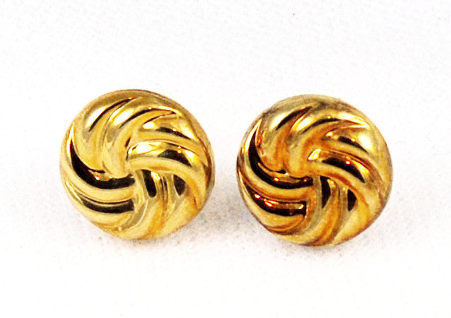 14Kt Gold Twisted Disk Pierced Earrings