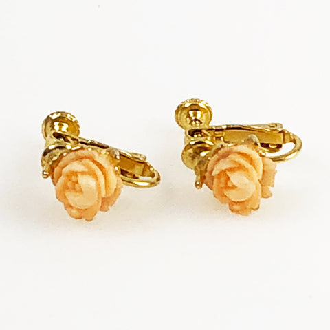 Goldette Coral Carved Floral Earrings Screwbacks