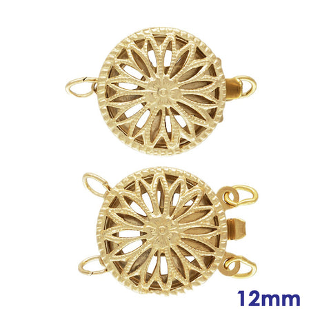 Gold 14K Filigree Round Safety Clasp 12mm