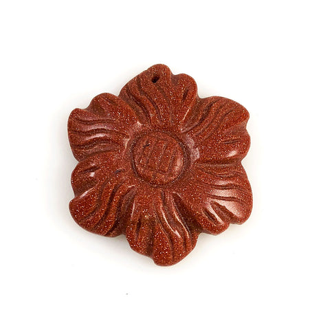 Goldstone Carved Flower Pendant