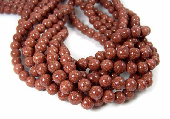 Goldstone 8mm Round Beads - Vintage