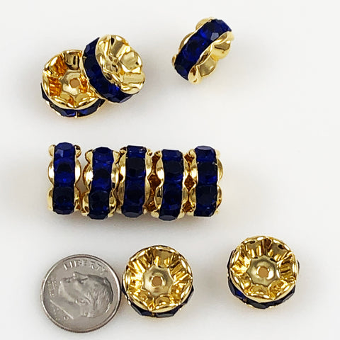 Large Gold Plated Sapphire Blue Rondelles