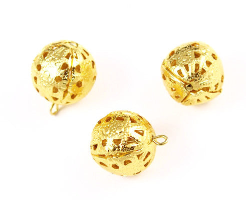 Large Gold Plated Filigree Beads with Loop