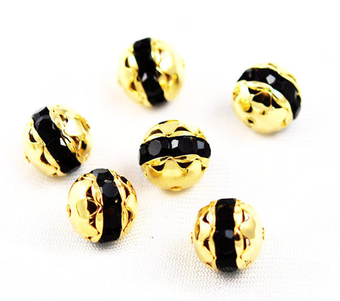Large Gold Plated Jet Black Rhinestone Balls 16mm