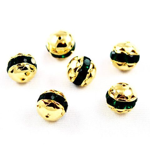 Large Gold Plated Emerald Green Rhinestone Balls 16mm