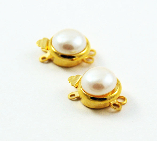 Gold Plated Double Strand Pearl Clasp
