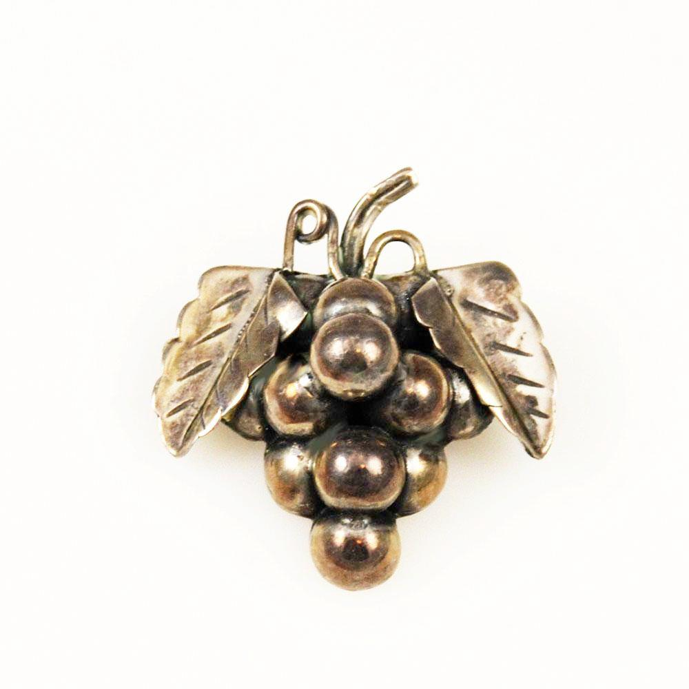 Antique Mexican Sterling Grape Brooch