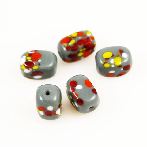 Gray Spatter Glass Beads - Vintage
