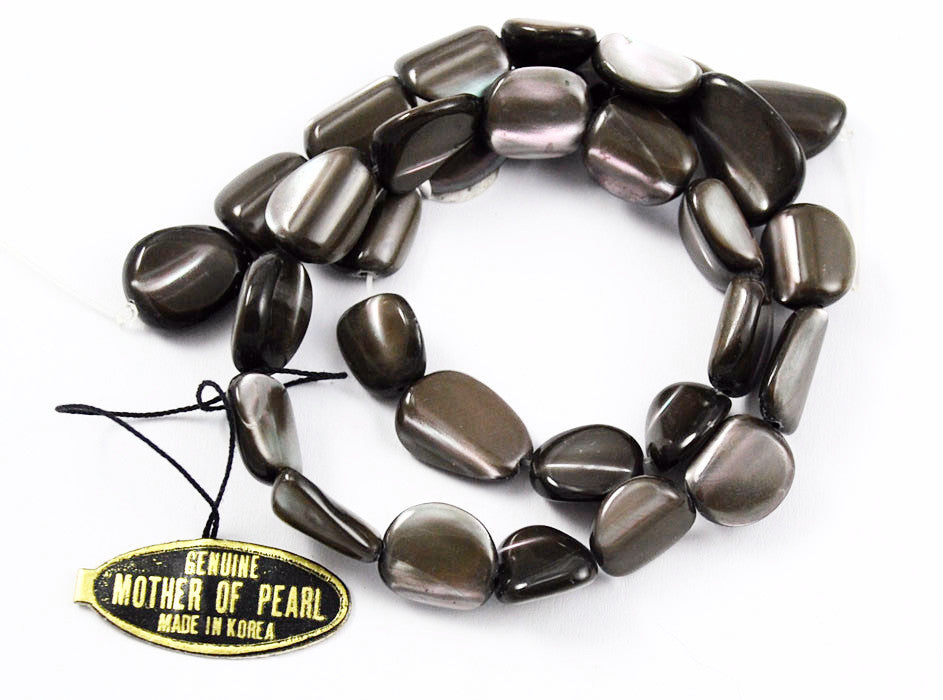 Black Mother of Pearl Oval Beads- Genuine Dark Gray