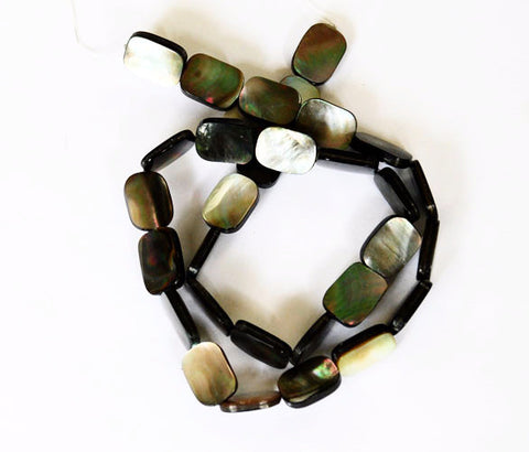 Black or Dark Gray Mother of Pearl Rectangle Beads natural undyed
