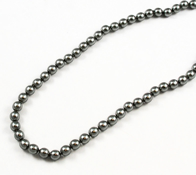 Gray Pearl Knotted Necklace Opera Length -8mm pearls