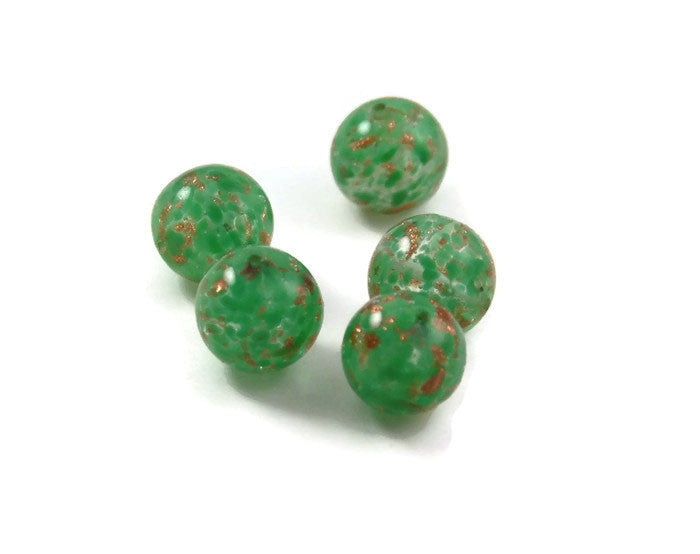 Green and Copper Murano Lamp Work Beads - Sommerso