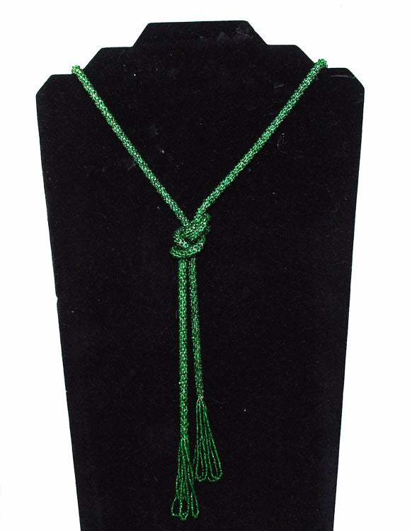 Art Deco Green Glass Beaded Lariat Necklace