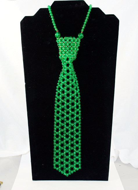 Rare Green Glass Beaded Tie Necklace Vintage