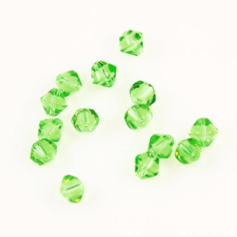Green Peridot Bicone Glass Beads