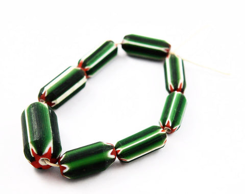 Large Green Watermelon Venetian Chevron Trade Beads