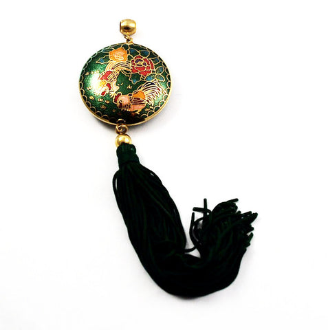 Cloisonne Green Tassel Pendant With Roosters Vintage Chinese