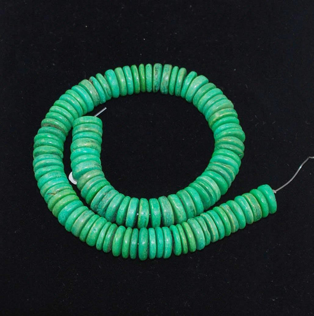 Green Coco Disk Bead Strands