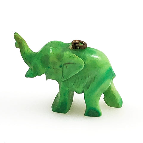 Green Carved Bone Elephant Pendant