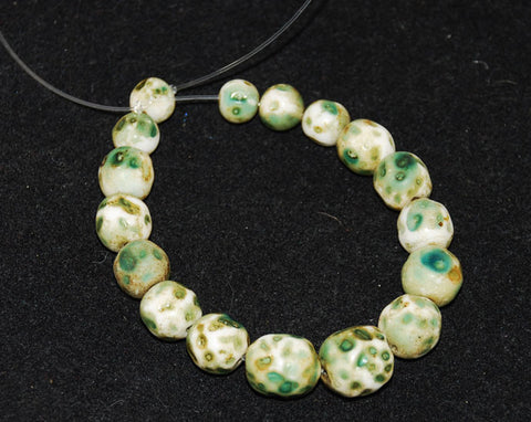 Antique Green & White Skunk Trade Beads
