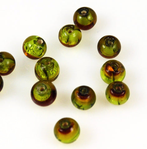 Green & Brown Silver Foil Beads