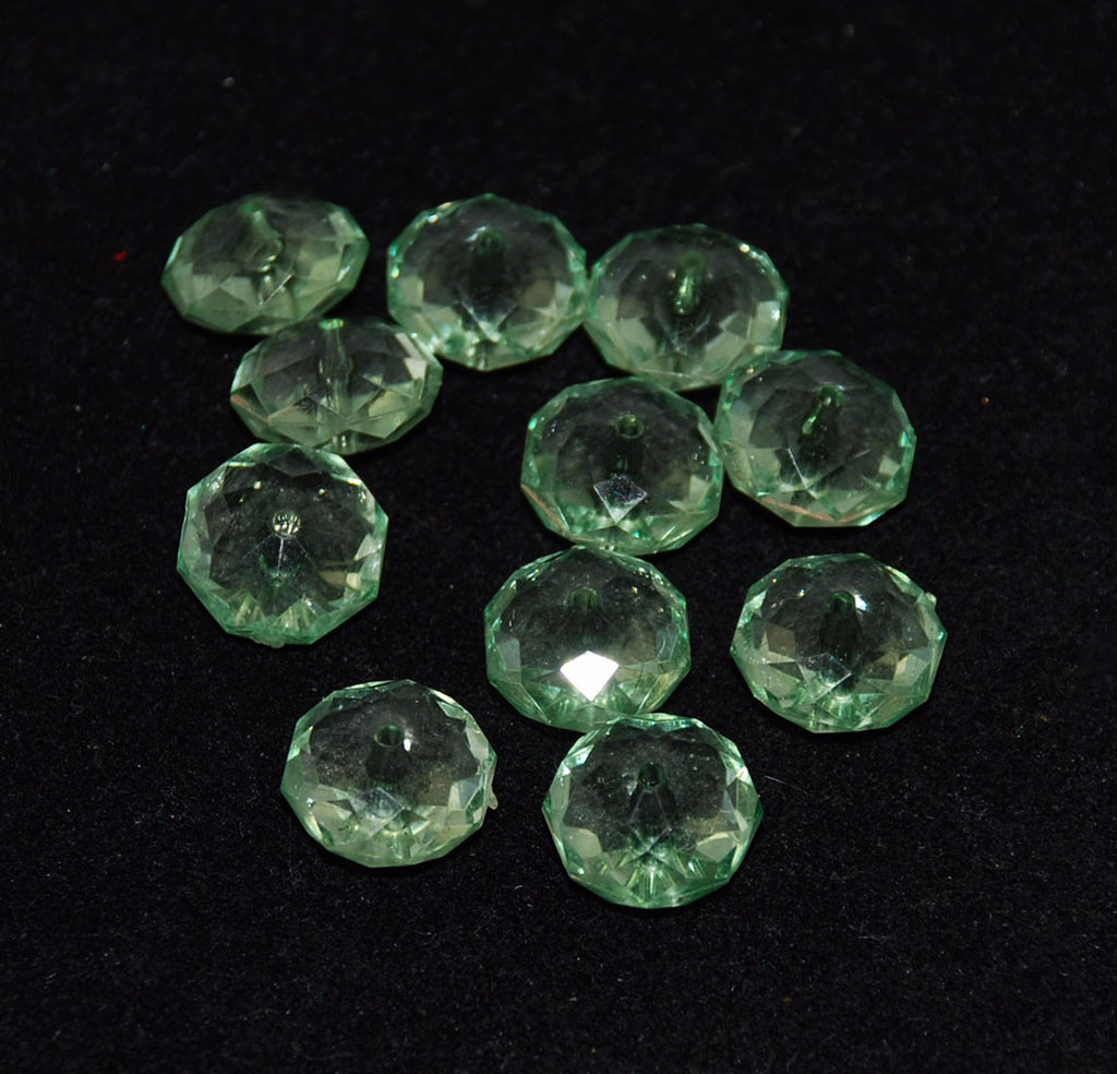 Light Green Lucite Faceted Rondelles Beads