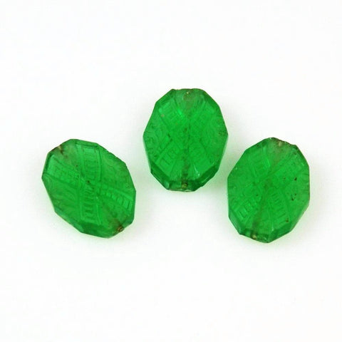 Green Crystal Bohemian Beads - Antique Art Deco