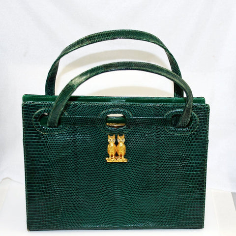 Martin Van Schaak Green Lizard Purse Hand Bag Owls