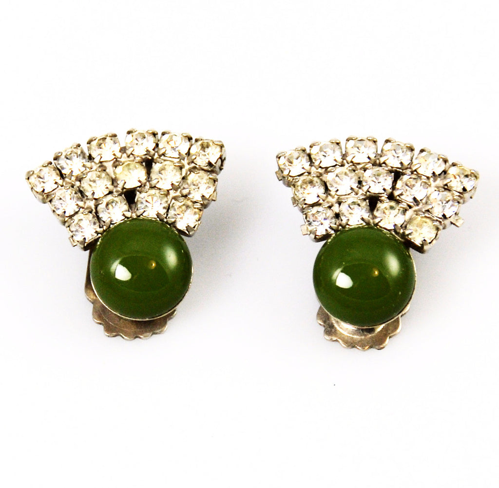 Olive Green Rhinestone Clip On Earrings