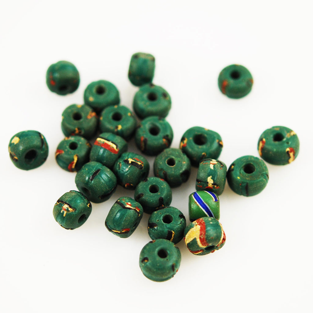 African Trade Venetian Green Striped Beads