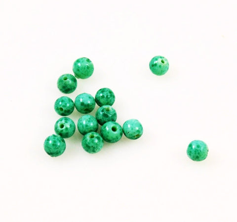 Green Spatter Round Beads - Vintage 6mm