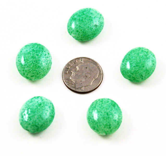 Green Spatter Flat Ovals 16 x 15mm