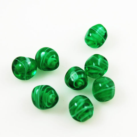 Green Striped 12mm Vintage Beads