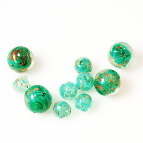 Green Venetian Glass Beads Vintage