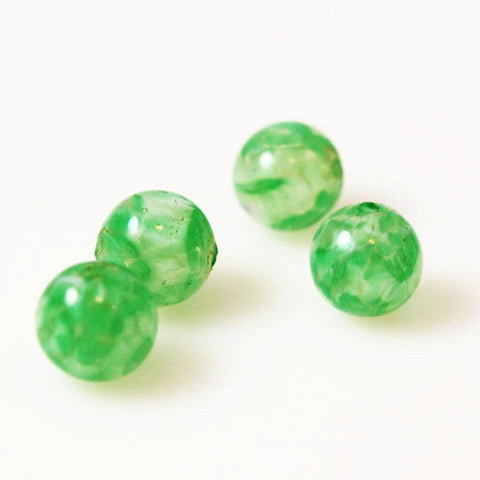 Green Murano Lamp Work Beads - Sommerso beads 12mm