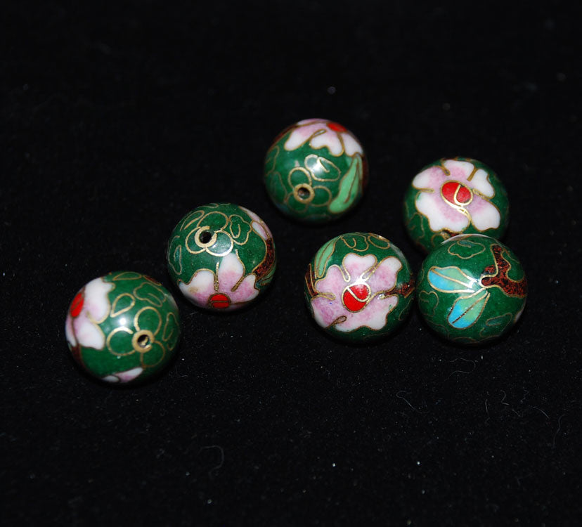 16mm Cloisonne Green Round Beads Vintage Chinese