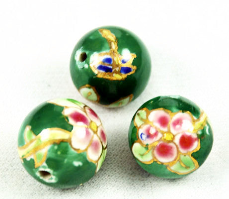 Green Floral Round Enamel Beads 18mm