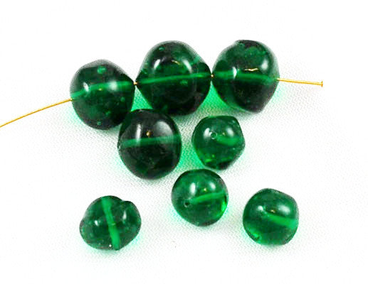 Baroque Emerald Green Beads -Vintage
