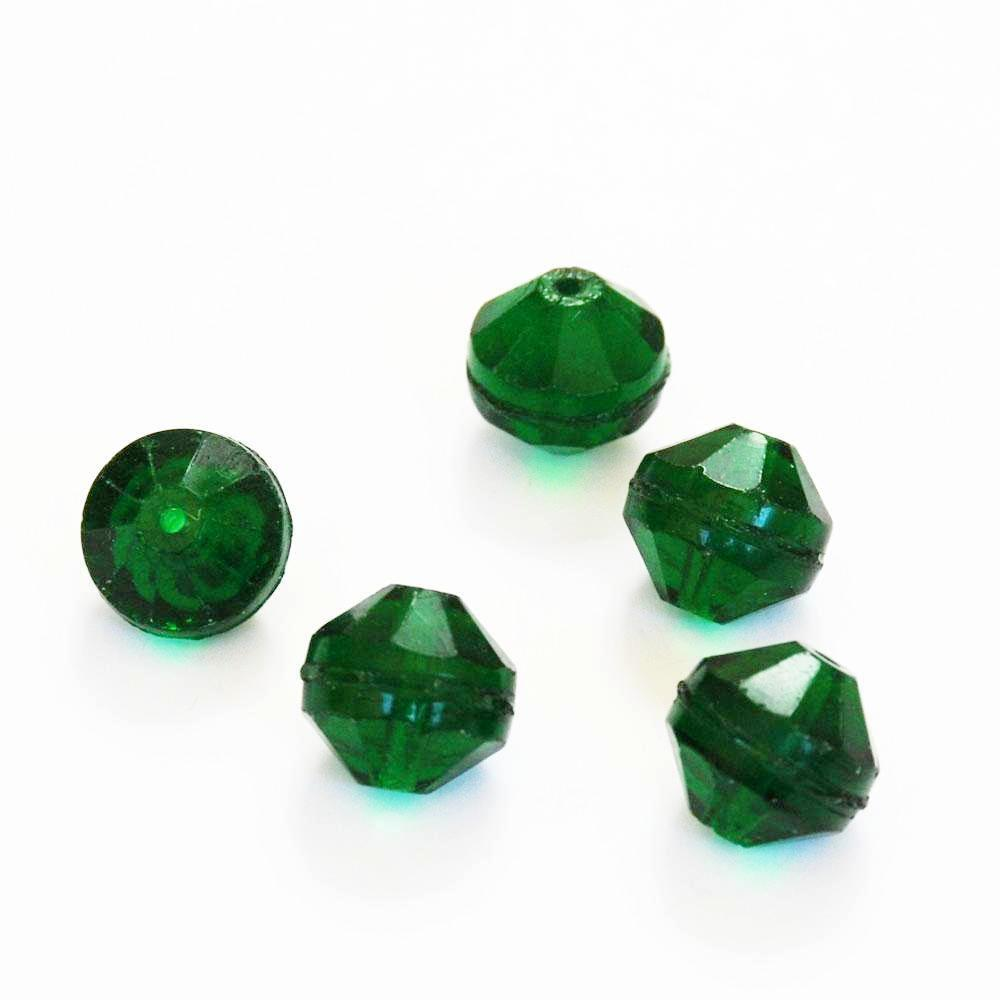 Faceted Bohemian Green Beads - Antique (6)