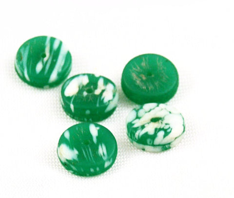 African Trade Beads Kancamba Green & White Disks