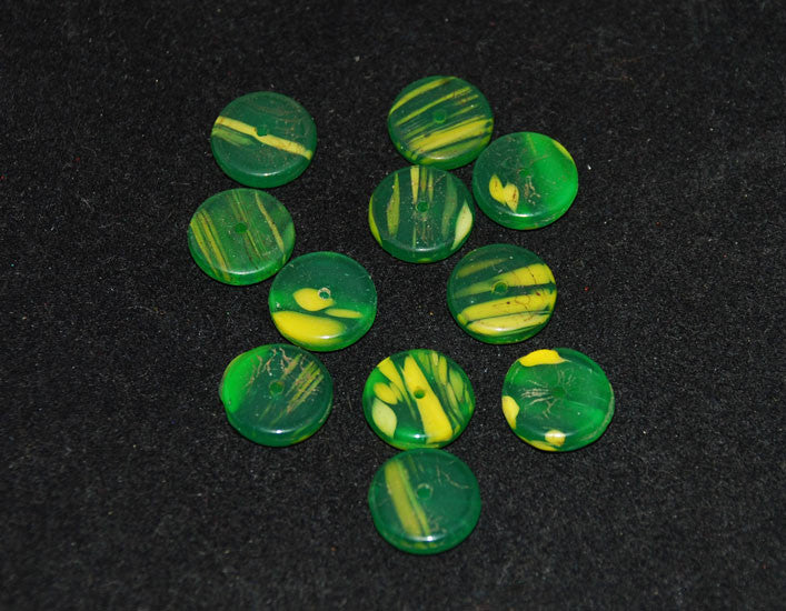 African Trade Beads Kancamba Green & Yellow Disks