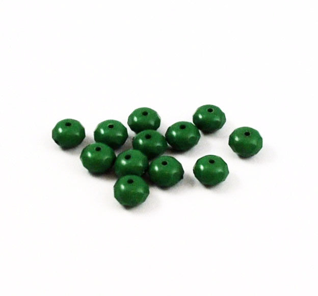 Green Lucite Faceted Rondelles Beads