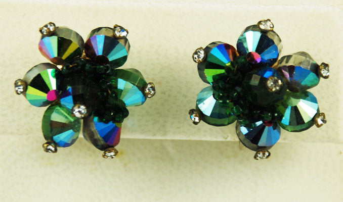 Vendome Green Rhinestone Clip On Earrings 1960's Vintage