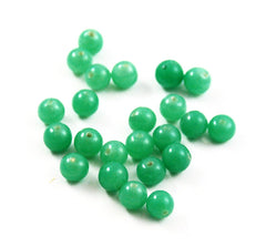 Green Jade Glass Round Beads 6mm - Vintage 24