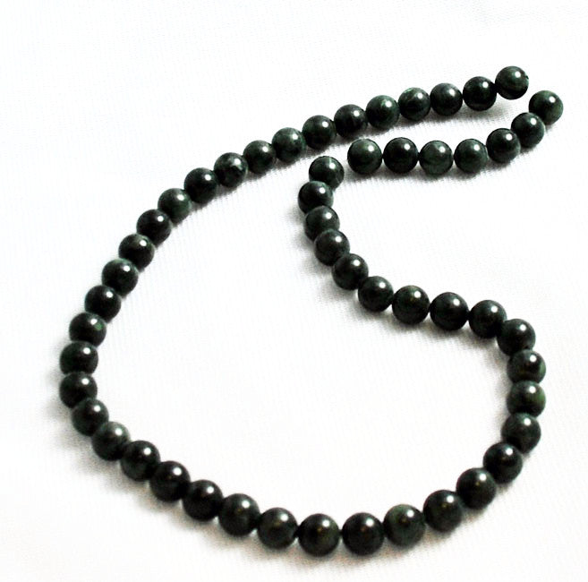 Dark Green Serpentine Round Beads- New Jade Vintage
