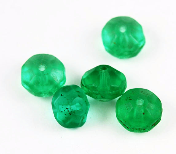 Faceted Bohemian Green Vaseline Trade Beads