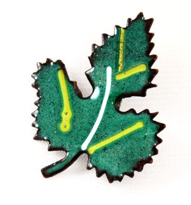 Green Enamel Maple Leaf Brooch Vintage