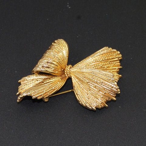 Henkel and Grosse Gold Bow Brooch Vintage